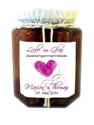 ... Brautpaar, Datum Hausgemachte Marmelade : Extrasüß: Liebe im Glas