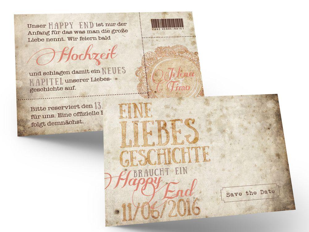 """Beispiel einer Save the Date Karte unserer Hochzeitsserie """"E005 - Ticket-Hochzeitseinladungen – Eine Liebesgeschichte geht weiter..."""""""