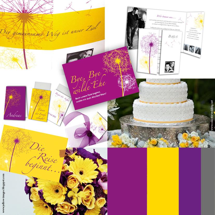 Beispiele von Hochzeitseinladungen mit den Trendfarben 2012