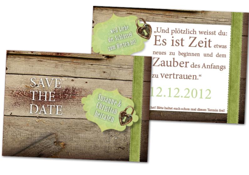Schlösser auf der Save the Date Karte - Hochzeitspapeterie