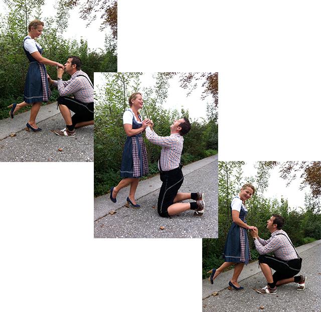 Der Kniefall für den Hochzeitsantrag passend für die Hochzeitseinladungskarten
