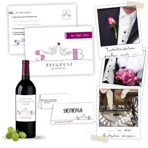 besonderes Hochzeits Set für Hochzeitskarten mit Tauben Logos zur Auswahl
