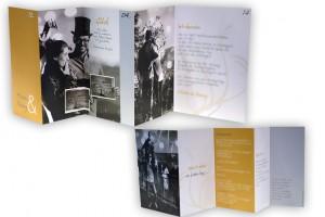 Einladungskarten mit zahlreichen persönlichen Bildern und Leporellofalz