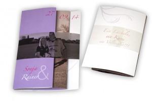 Hochzeitseinladung mit Foto und transparenter Banderole