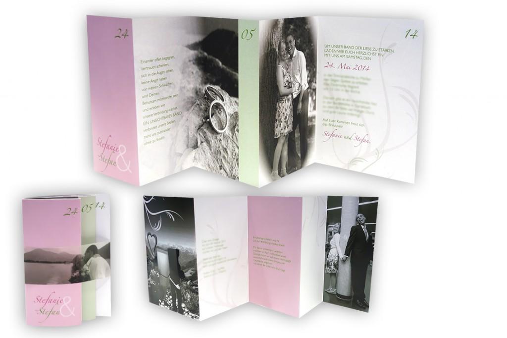 Fotokarten zur Hochzeit mit liebevollen und persönlichen Bildern und Mehrfachfaltung