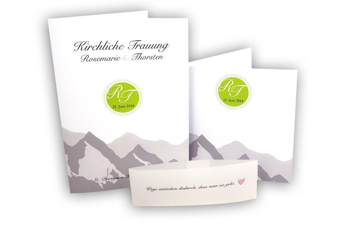 Kirchenprogramm und Einladung zur Hochzeit aus einem Guss nach persönlichen Vorstellungen ...