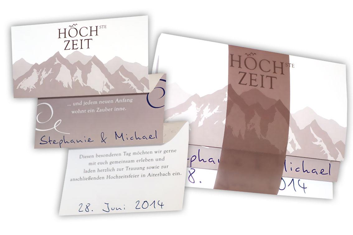 Hochzeitskarten Design für die Hochzeit am Berg