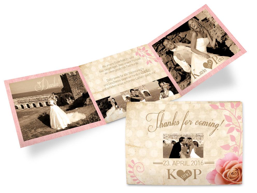 Mit Fotodankeskarten im eigenen Look erhalten die Gäste und das Brautpaar ein unvergessliches Danke für einen wundervollen Tag.