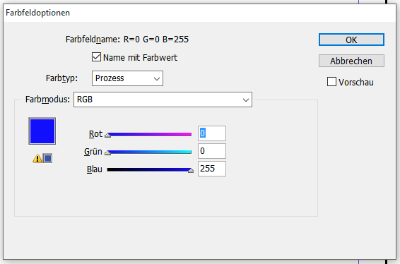 RGB Warnung in Adobe InDesign