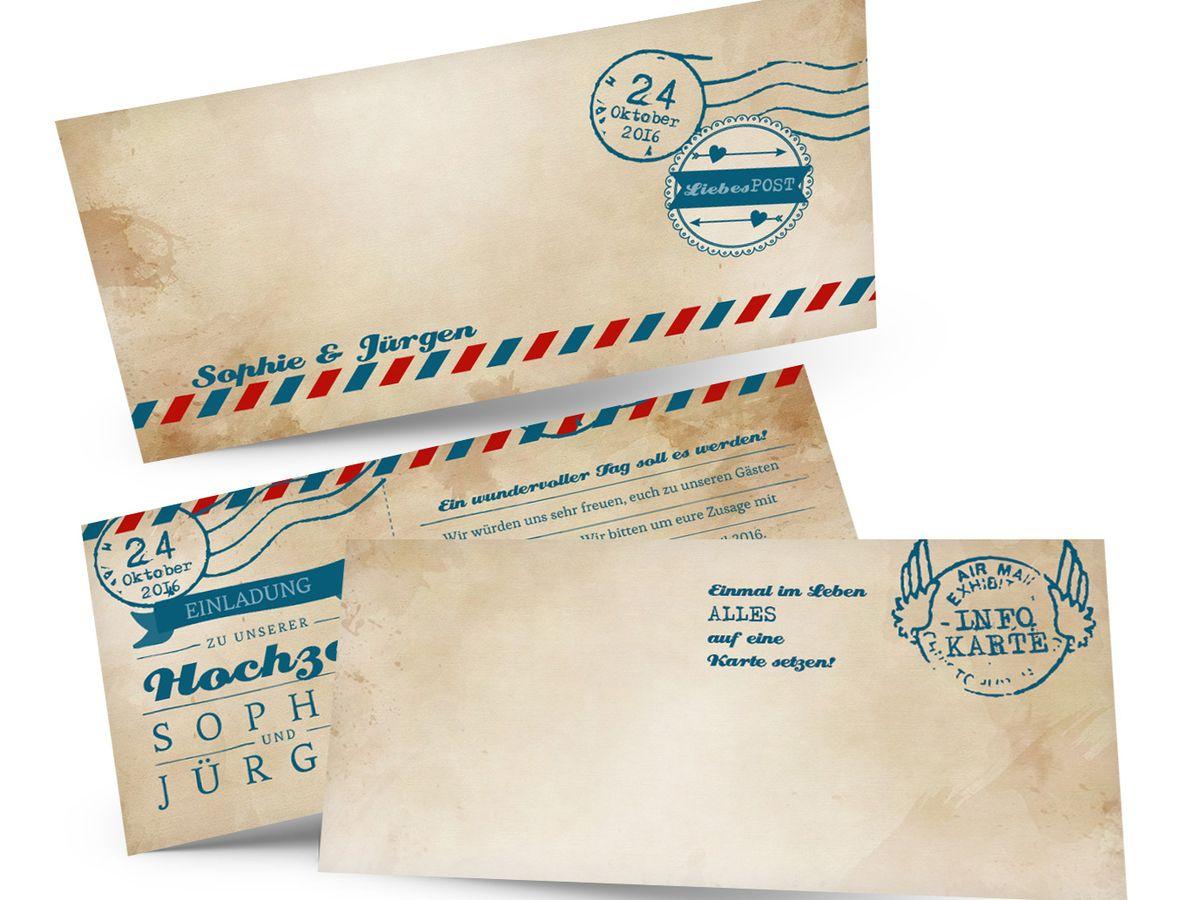 Hochzeitseinladungen ticket airmail 4 you