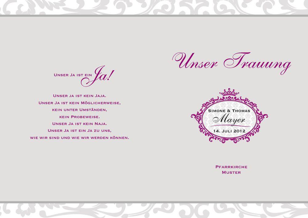 Kirchenhefte Mit Elegantem Hochzeitslogo