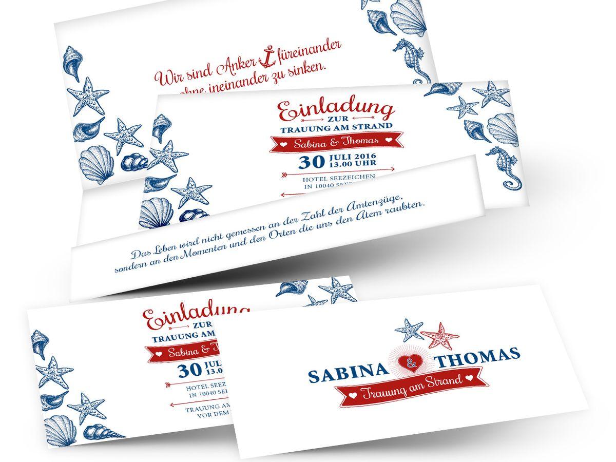 Hochzeitskarte Im Ticketstil Maritime Hochzeit