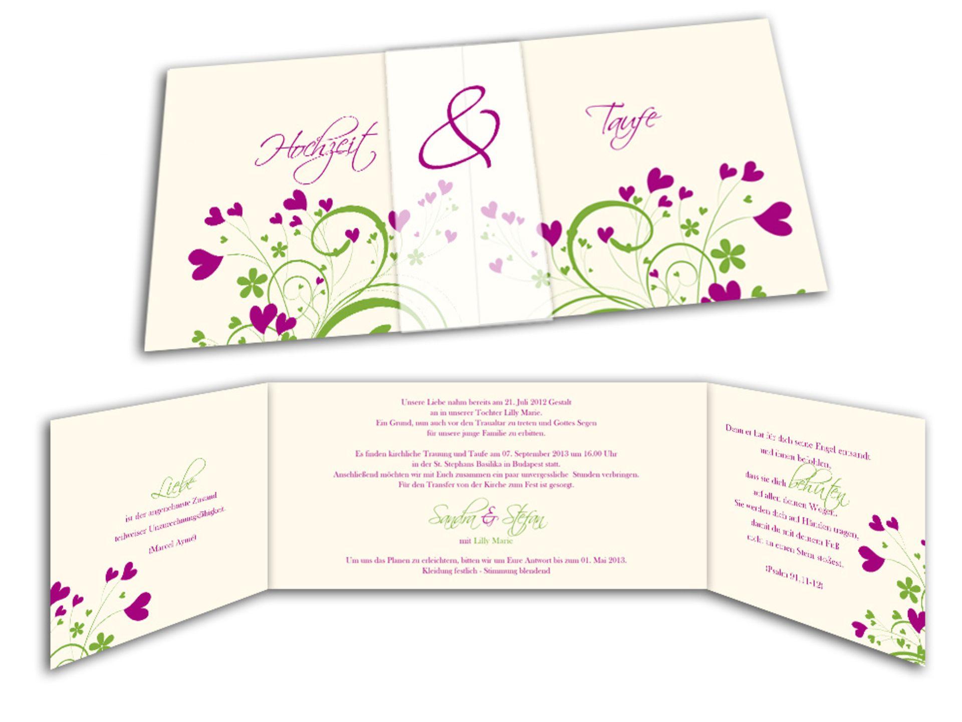 spezielle einladungskarten für eine hochzeit mit taufe, Einladung