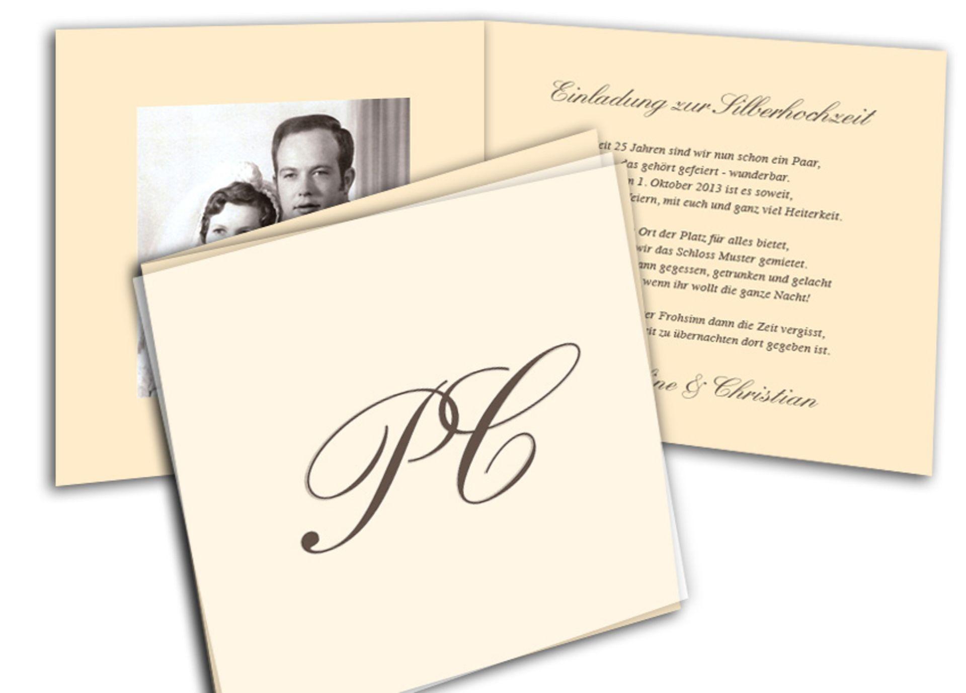 silberhochzeit feiern - einladungskarten und einladungstexte, Einladungen