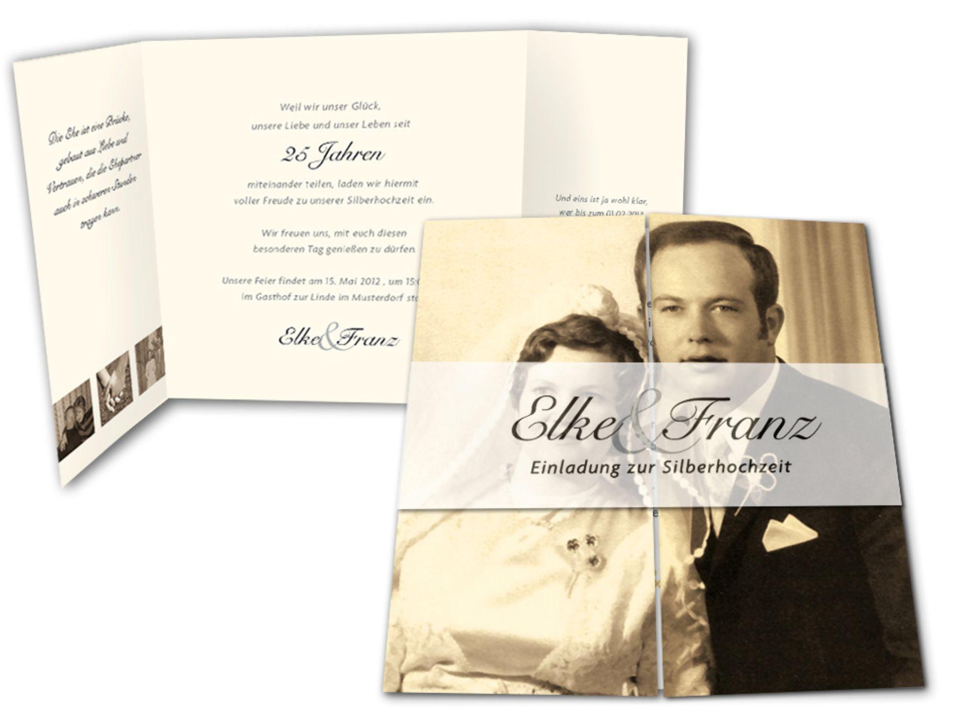 Fotoeinladung Zur Silbernen Hochzeit · Einladung Silberhochzeit Weisse Rose