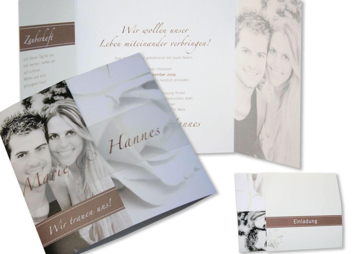Foto Hochzeitseinladung - Rosenrot in Sepia
