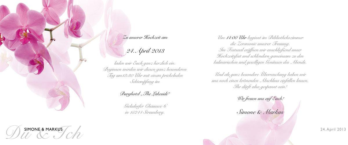 hochzeitseinladung - pinke orchidee, Einladung