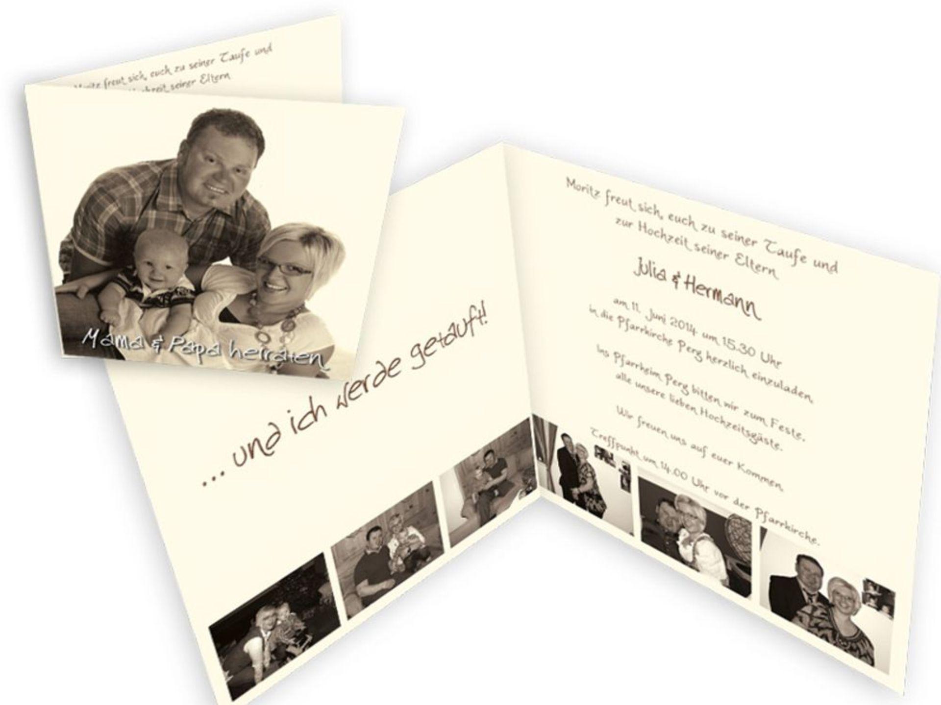 spezielle einladungskarten für eine hochzeit mit taufe, Einladungen