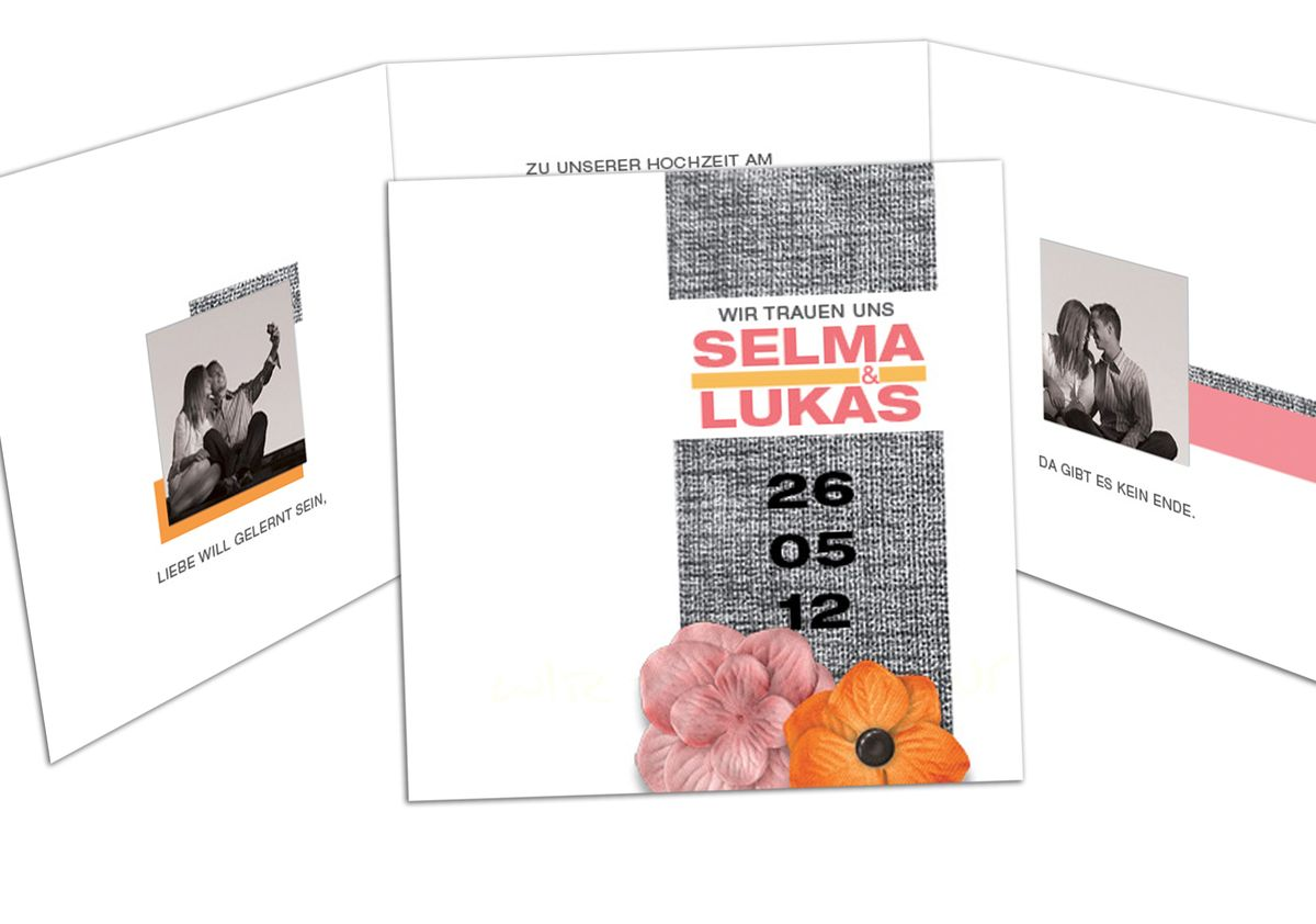 Fotokarte Hochzeitseinladung Vintage Blumen