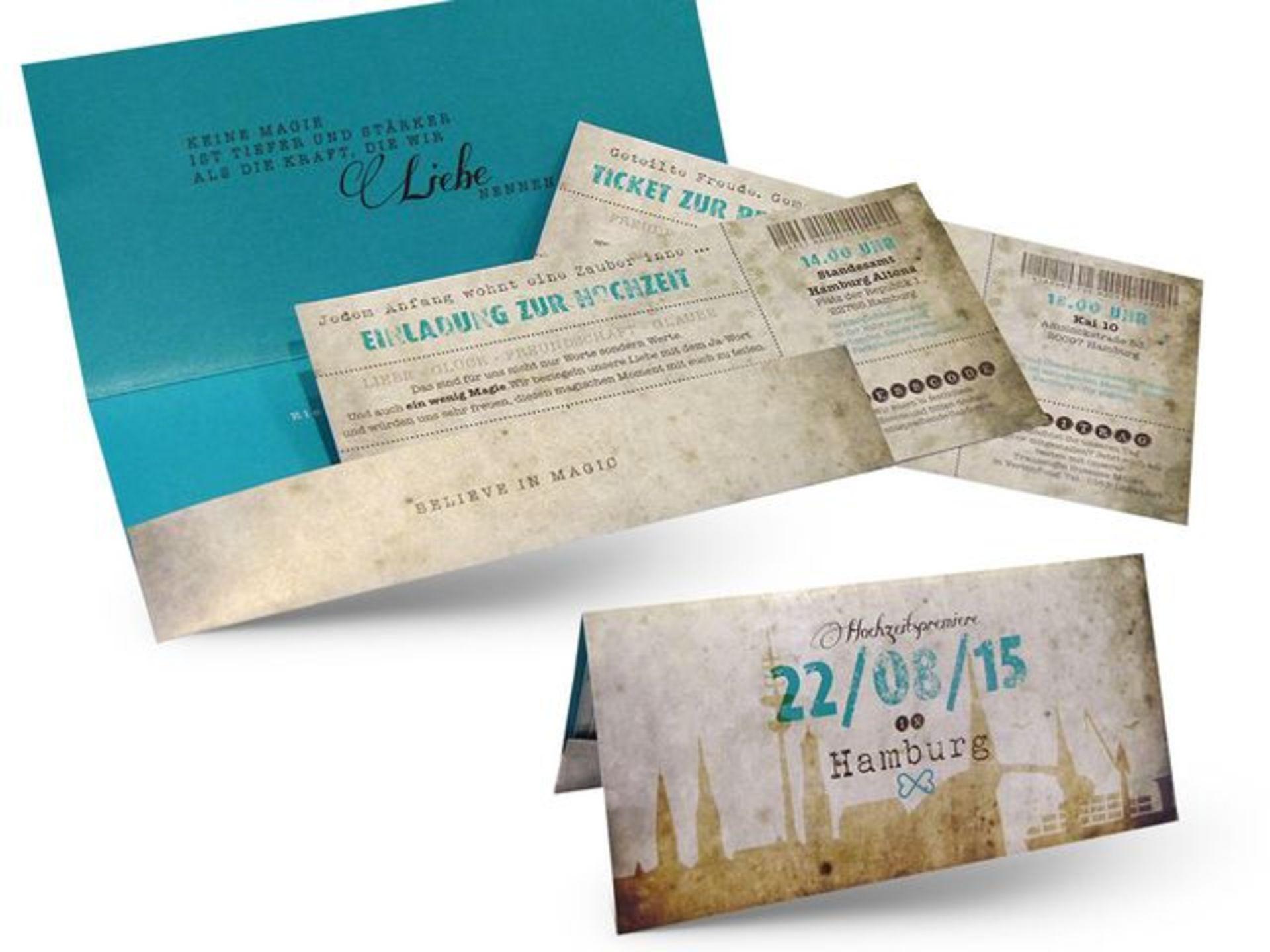 GroBartig Ticket Einladung Zur Hochzeit Im Vintage Stil