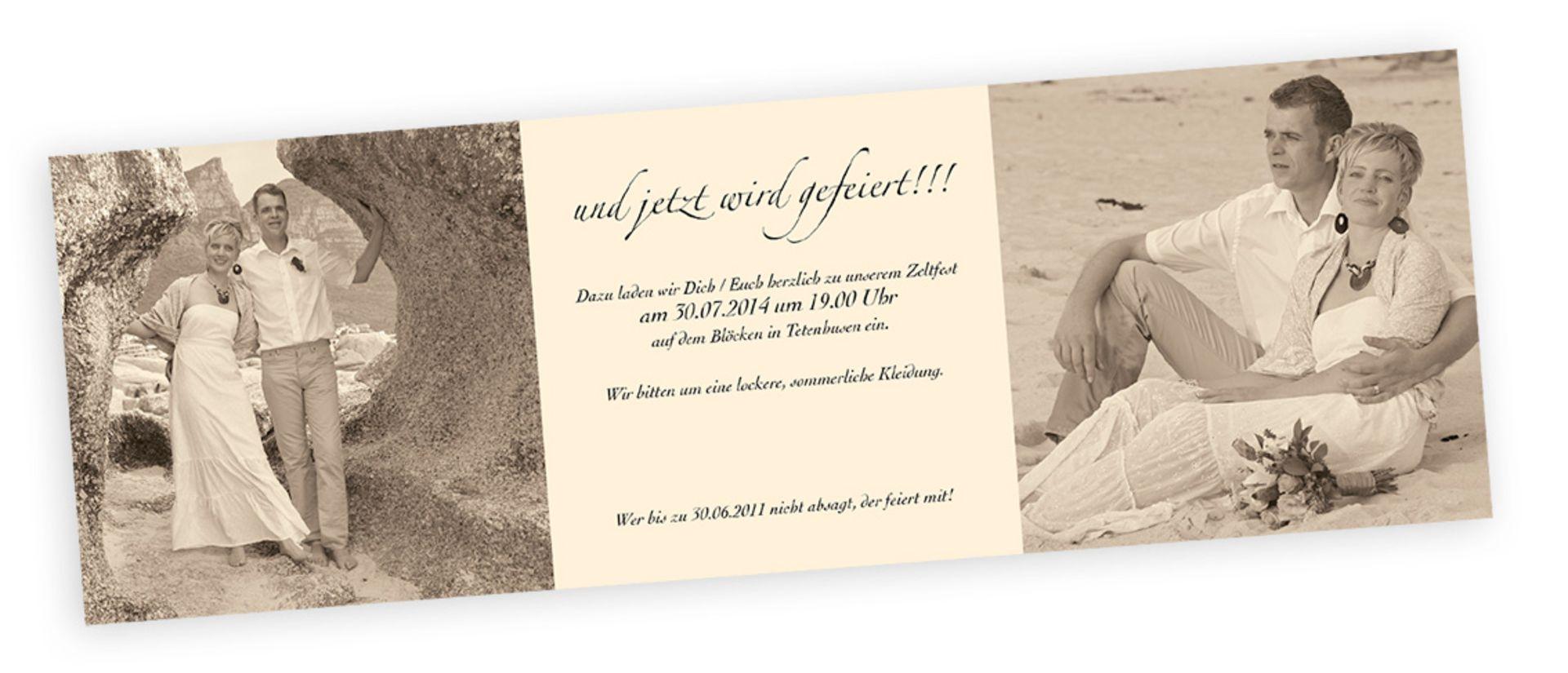Mit Fotos Ihrer Heimlichen Hochzeit Und Einer Netten Einladungskarte Für  Die Party Danach, Lassen Sie
