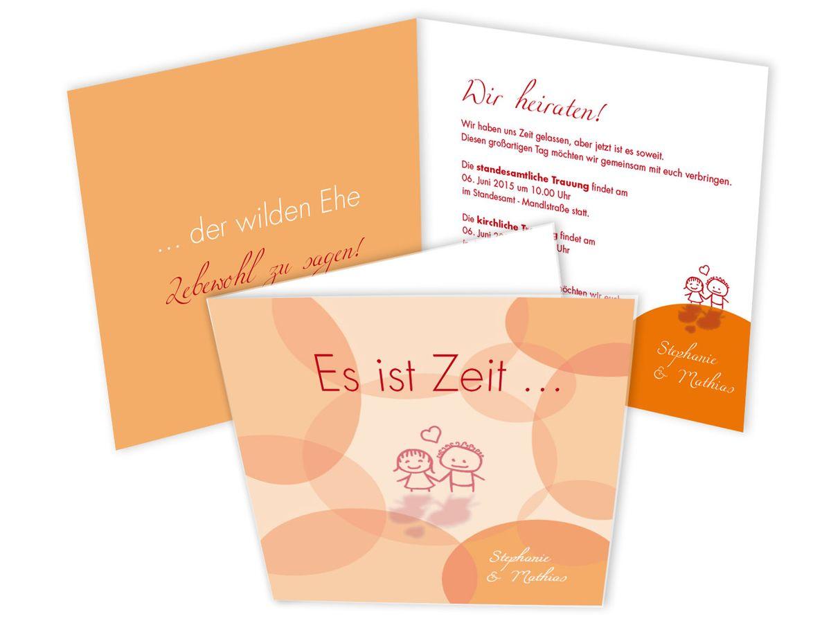 Hochzeitseinladungskarte Wilde Ehe Ade Orange Aprikot