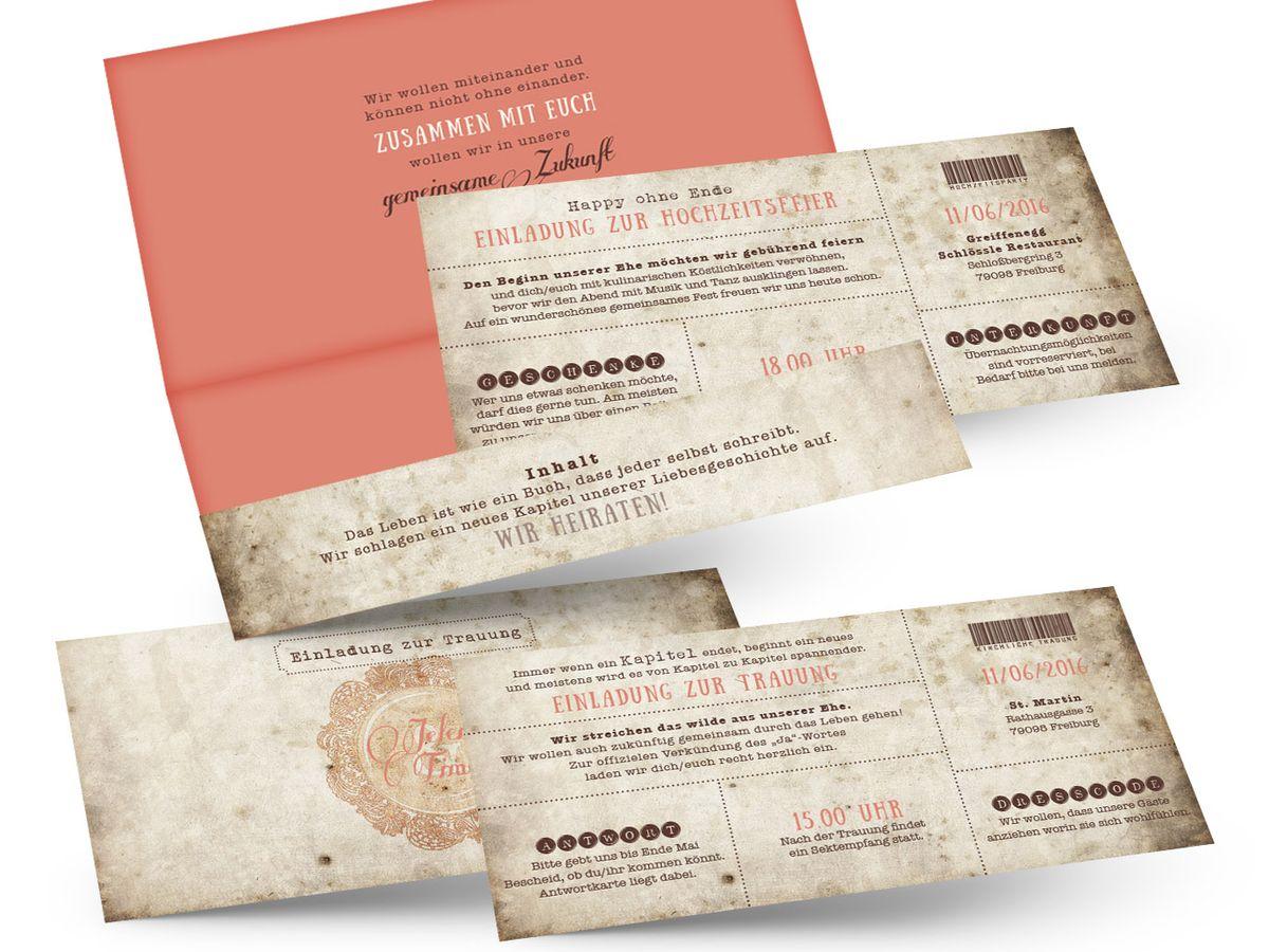Vintage ticket hochzeitseinladungen eine liebesgeschichte geht weiter