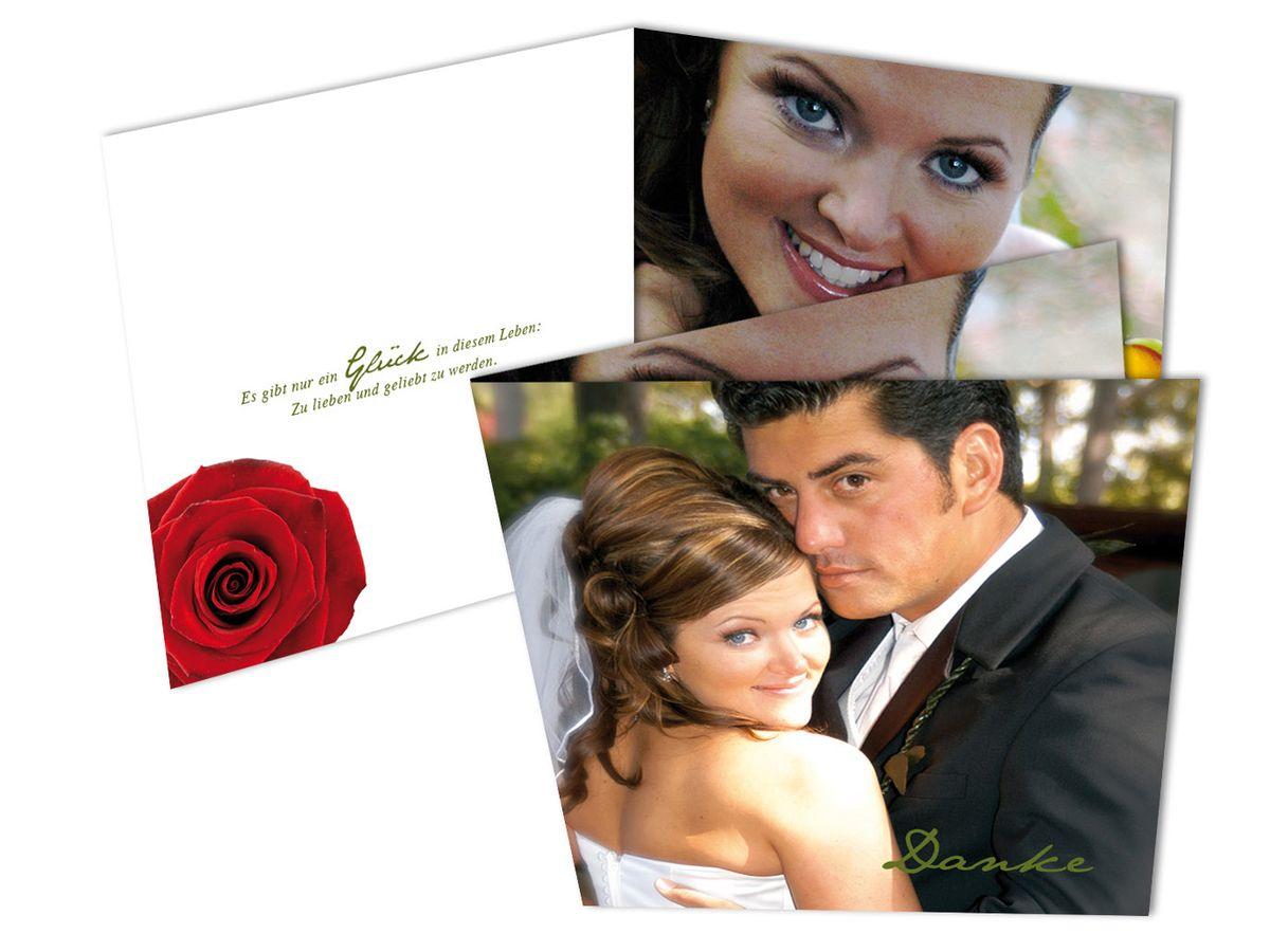 dankeskarten mit foto eine rote rose. Black Bedroom Furniture Sets. Home Design Ideas