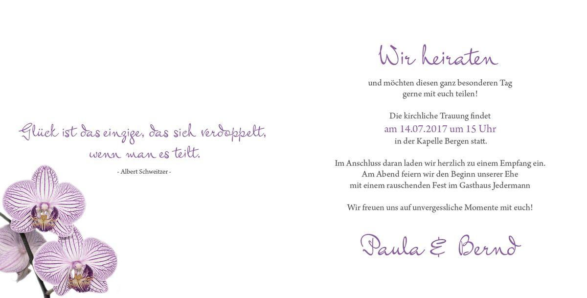 Hochzeitseinladung hinrei ende orchideen - Hochzeitseinladung text modern ...