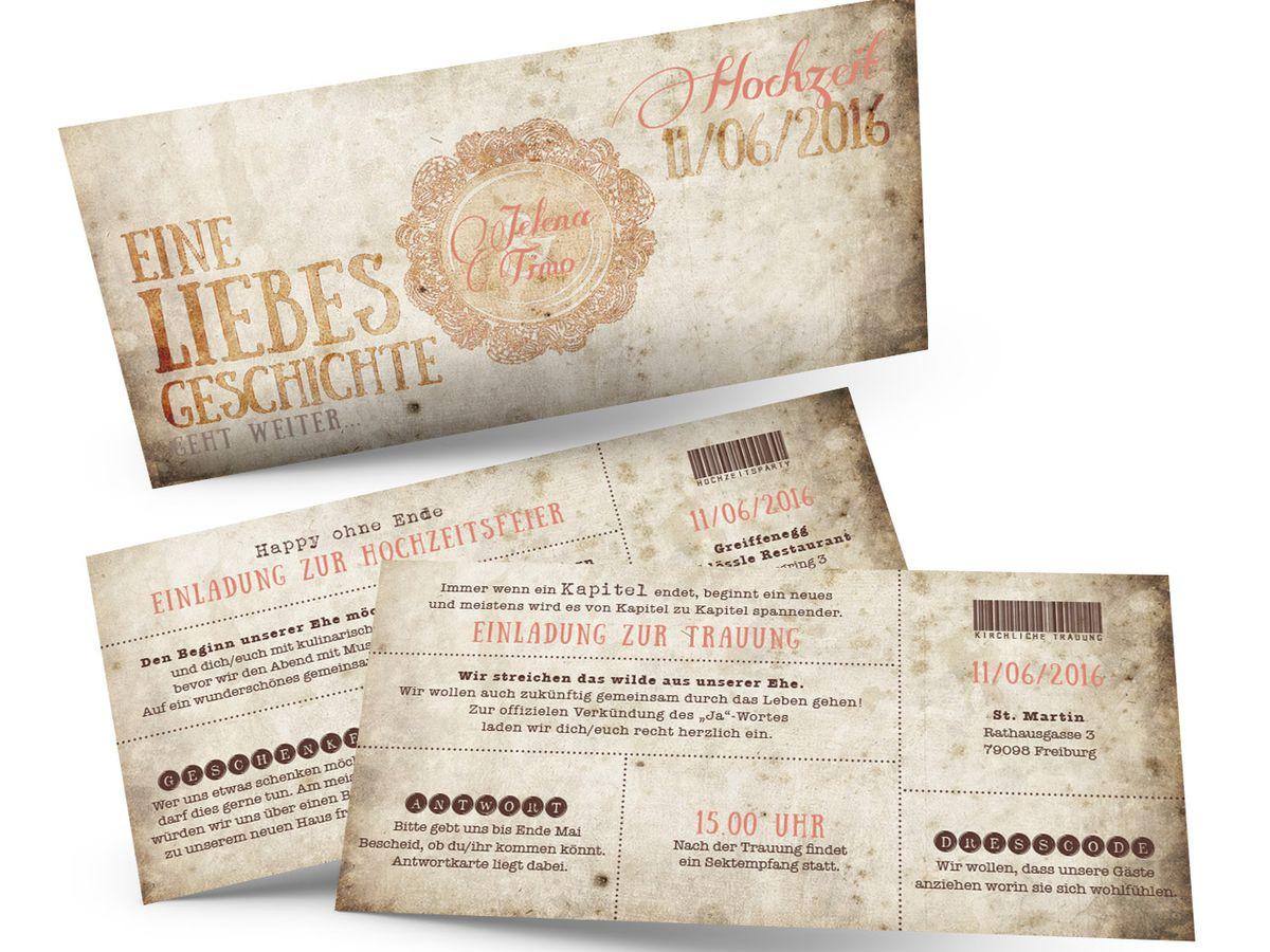 Vintage Ticket Hochzeitseinladungen Eine Liebesgeschichte Geht
