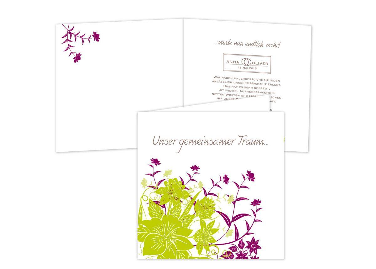Schicker falz und florale ornamente dankeskarten violett grün ziehharmonika quer 6 seitig 1