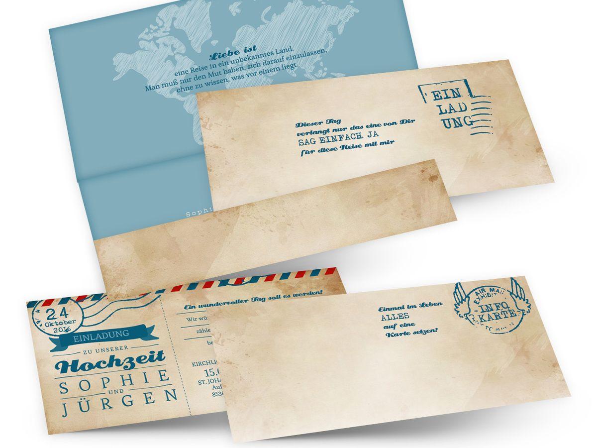 Hochzeitseinladungen ticket airmail 4 you - Hochzeitseinladungskarten vintage ...