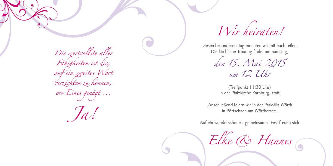 Hochzeitseinladung rosige zeiten lila - Hochzeitseinladung text modern ...
