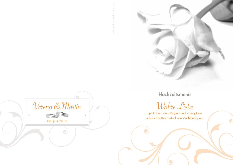 Hochzeitseinladungskarte Rosige Zeiten Orange Im Altarfalz