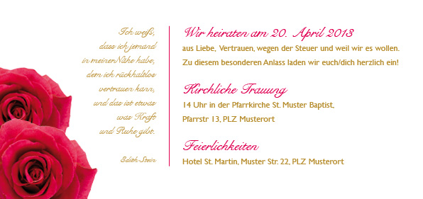 fächer hochzeitseinladungskarte - belle rose, Einladung