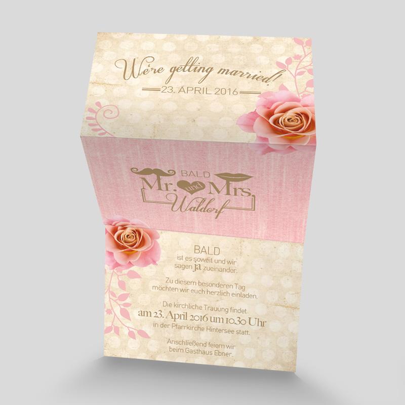 leporello hochzeitseinladung rosen romantik. Black Bedroom Furniture Sets. Home Design Ideas