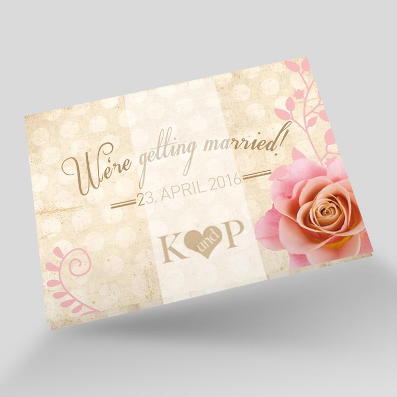 Leporello Hochzeitseinladung Rosen Romantik
