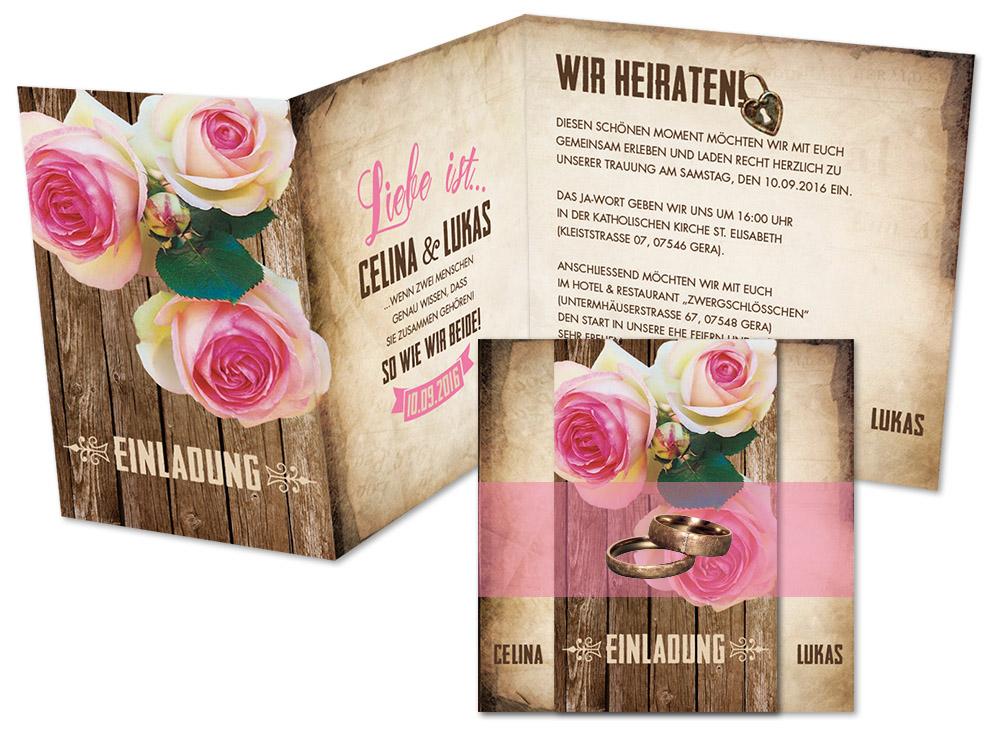 Hochzeitseinladungskarten Ein Rosenpaar