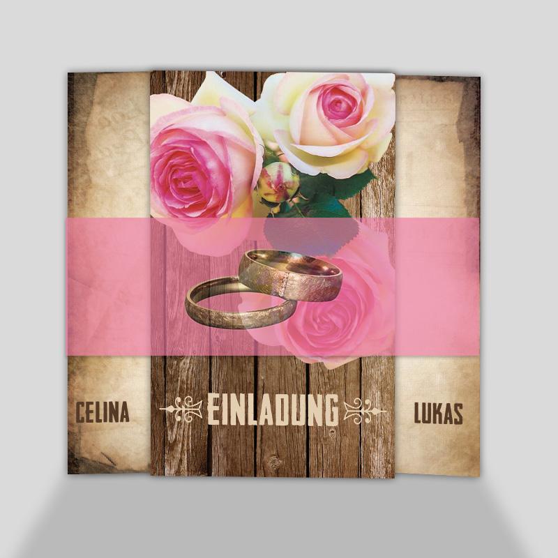 Hochzeitseinladungskarten - Ein Rosenpaar