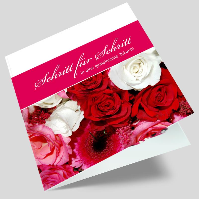 Hochzeitseinladungskarte Zwei Rosen
