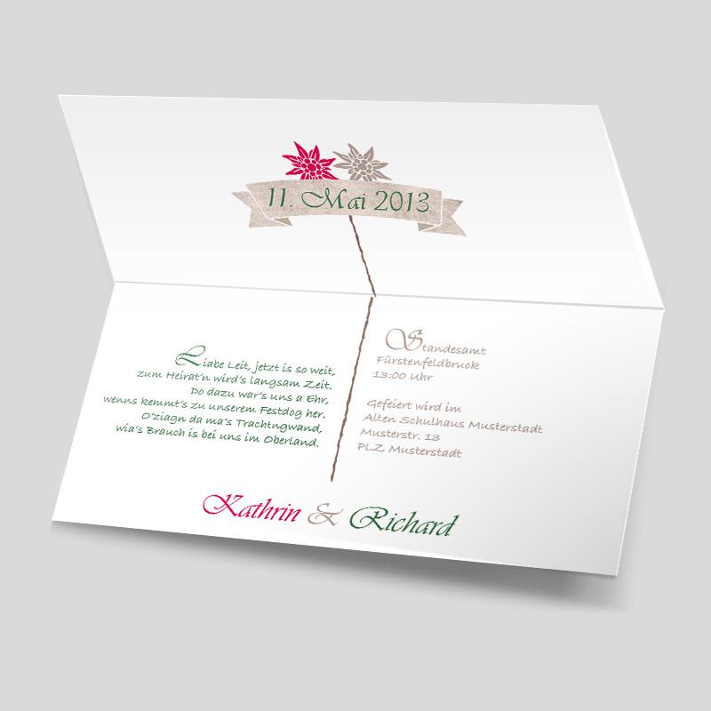 Hochzeitseinladung - Edelweiß - heiraten in Tracht