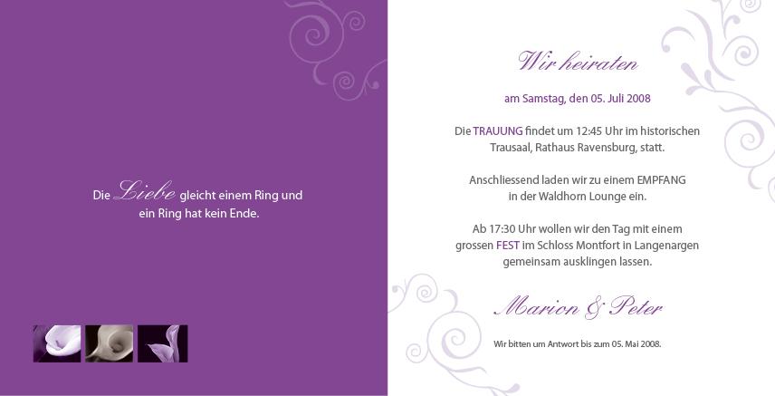 hochzeitseinladungskarte - lila calla - welt, Einladung