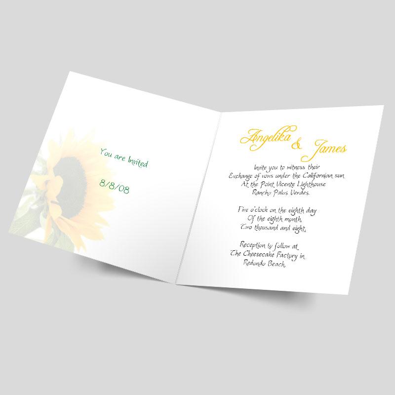 hochzeitseinladungskarte eine sonnenblume erbl ht. Black Bedroom Furniture Sets. Home Design Ideas