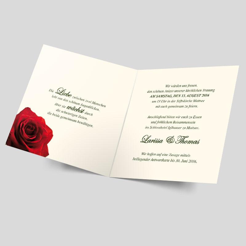 hochzeitseinladung die rote rose. Black Bedroom Furniture Sets. Home Design Ideas