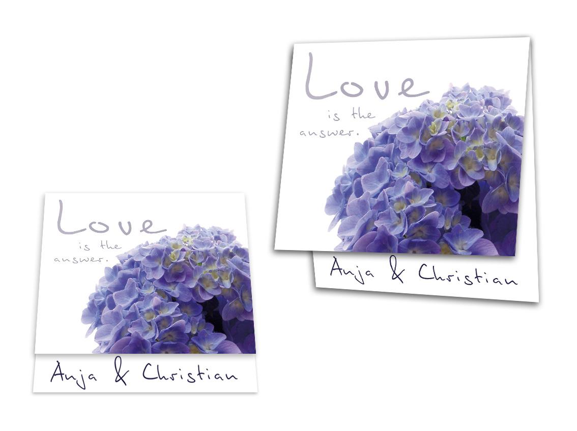 Hochzeitseinladungskarte Einzigartige Hortensie