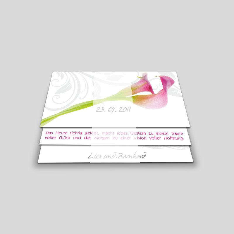 Einladungskarte Hochzeit Pinke Callas Leporello