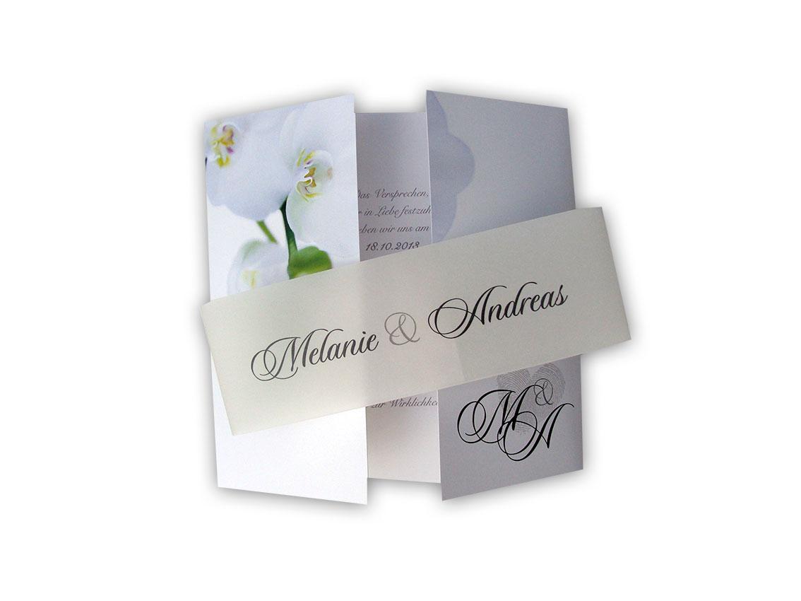 Altarfalz Hochzeitseinladungskarte - Elegante Orchidee