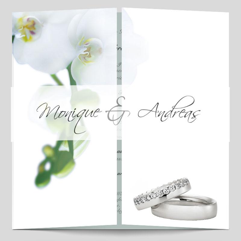 Altarfalz Hochzeitseinladungskarte Elegante Orchidee