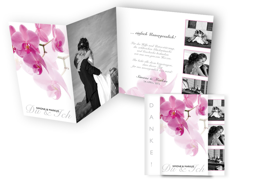 dankeskarten mit foto pinke orchidee. Black Bedroom Furniture Sets. Home Design Ideas