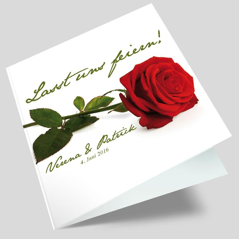 hochzeitseinladung eine rote rose. Black Bedroom Furniture Sets. Home Design Ideas